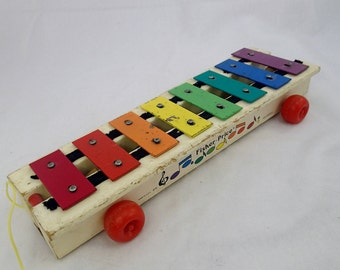 Fisher Price Xylophone Pull Toy Tug Along 1978 Wood Wooden