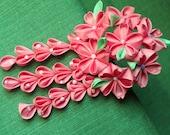 Pink sakura - cherry blossom - mini maiko kanzashi with falls silk hair fork