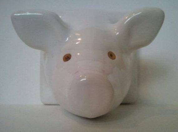Ceramic Pig Head Apron Towel Holder Hanger
