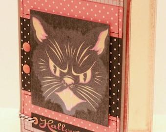 Halloween Card - Here Kitty, Kitty - Handmade Vintage Halloween Card - Vintage Halloween Cat Card