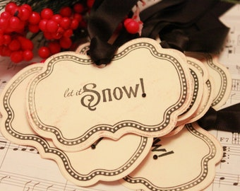 Christmas Tags (Doubled Layered) - Let it Snow (A4) - Handmade Vintage Inspired Christmas Gift Tags - Vintage Winter Tags - Set of 8