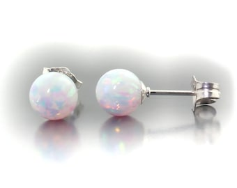 Lorraine: 6mm Australian Fiery White Opal Ball Stud Post Earrings, 14K White Gold, Minimalist Earrings, White Opal Earrings, Bridal Earrings