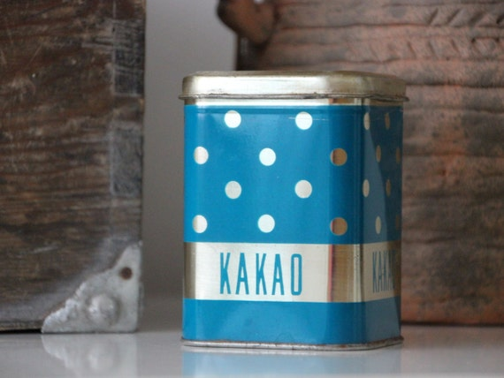 Cute polka dot tin canister from USSR, for cocoa storage, kitsch soviet design from 70s