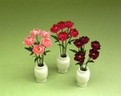 Peony Paper Flower Kit  for 1/12th scale Dollhouses, Florists and Miniature Gardens
