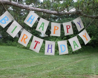 Happy Birthday - Burlap Bunting Banner -  Made to order