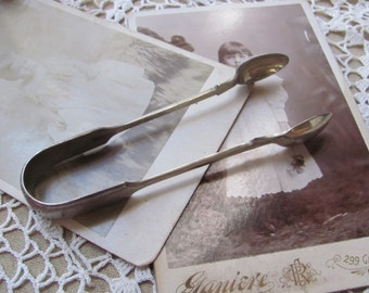 Tongs - Antique Nevada Nickel Silver Plate Small Sugar Tongs - 5.5 Inches