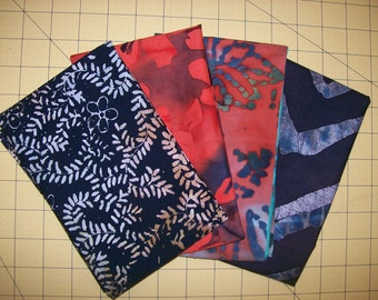 A Gorgeous Lot of 4 Batiks Fat Quarters One Yard Of Fabric Free US Shipping