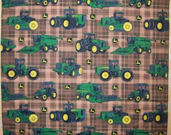 A Gorgeous John Deere Tractor On Brown Plaid Cotton Fabric  BTY-Free US Shipping