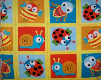 An Adorable Cute As a Bug Blocks Fleece Fabric By The Yard Free US Shipping