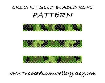 Beaded Rope Pattern - PDF File - Crochet Seed Beaded Rope - Vol. 21 - Camouflage