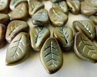 50 Beautiful Czech Glass Brown Iris Matte AB Leaf Beads   Size 9x14