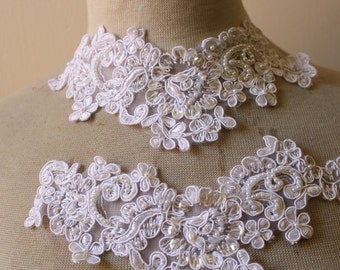 Cute embroidered  and beaded organza flower   applique  white color 2  pieces listing