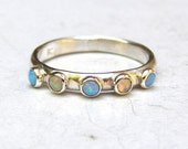 Opal ring, Blue opal, Wedding bands, stacking ring ,silver sterling ring, cocktail ring, handmade engagement, Birthstone ring, MADE TO ORDER