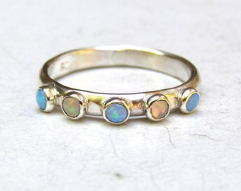 Opal ring, Blue opal, Wedding bands, stacking ring ,silver sterling ring wedding ring, Anniversary ring, Birthstone ring, MADE TO ORDER