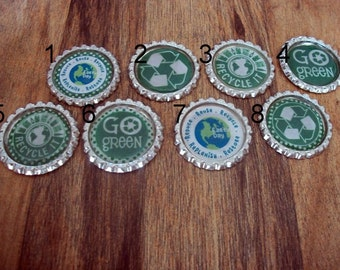 Recycle and Earth Day Bottle Cap Magnets