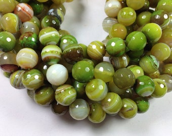 32 pcs 12mm round faceted green white agate beads