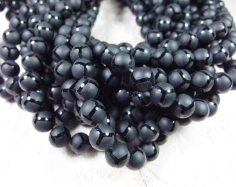 32 pcs round matte blace onyx beads in 12mm