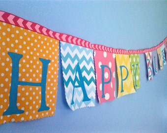 Birthday Banner party decoration Whimsical Colors Lavender, Pink, Aqua Ombre Chevron, Yellow, Lime, Orange fabrics party banner