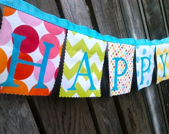 Fabric Birthday Banner, Party Decoration, Bunting Flags, Festive Colorful Dots Chevron Fabric Pink, Lime, Aqua, yellow Happy Birthday Banner