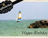 Sailboat birthday card, clipart, scrapbooking, invitations, party, printables