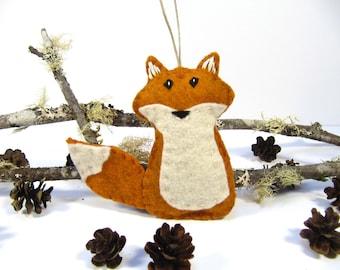 Personalized Christmas Ornament, Felt Fox Christmas Ornament, Wool Fox Christmas Ornament, Orange Fox Ornament, Woodland Ornament