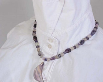 Amethyst  and  Fluorite necklace and earrings