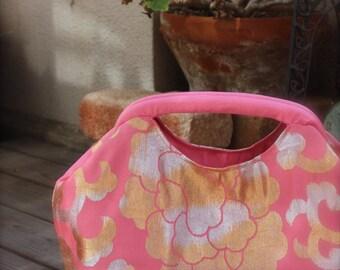 Obi / Kimono / Purse / PK478 Beautiful Flower Pattern Antique Obi Spring Handle Bag