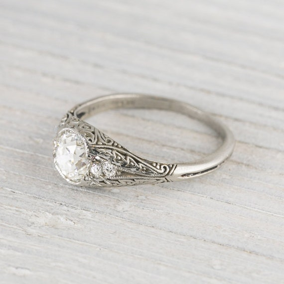 Items similar to 1 02 Carat Vintage Cushion Cut Diamond Engagement Ring on Etsy