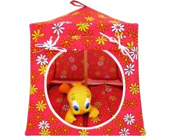 Toy Pop Up Tent, Sleeping Bags, pink, daisy print fabric