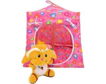 Toy Pop Up Tent, Sleeping Bags, pink, heart print fabric for stuffed animals, dolls