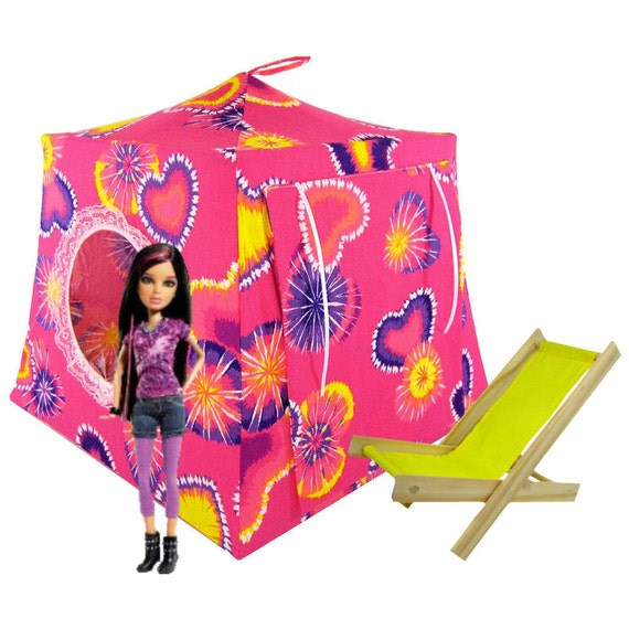 Toy Pop Up Tent, Sleeping Bags, pink, tie dye heart print fabric