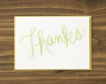 thanks script calligraphy green thank you note