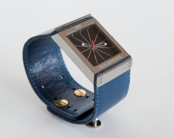 Royal blue leather watch, big square watch  - Fulcrum