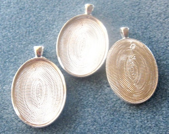 Bright Silver Oval Bezel Trays, Blanks Settings, Jewelry Supplies, Craft Supplies, Bezel Settings, Cabochon Settings, 30 x 40mm, (1)