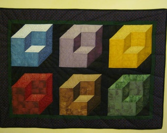 3-D Blocks illusion hand quilted wall hanging