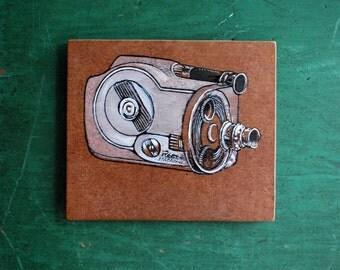 Camera Art Original Painting of Revere Movie Camera, Small Painting of Art Deco Camera on Reclaimed Wood