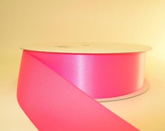 HOT PINK Ribbon double faced satin ribbon 1.5 inches, Wedding, Special Occasion, Crafts, DIY bridal 1 yard