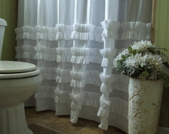 Shower Curtain - Ruffle Shower Curtain - White Cotton Ruffles Shower Curtain -Shabby Chic - Cottage- Beach
