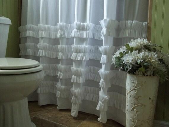 Douche rideau rideau de douche volants coton blanc ruffles - Rideau de douche chic ...