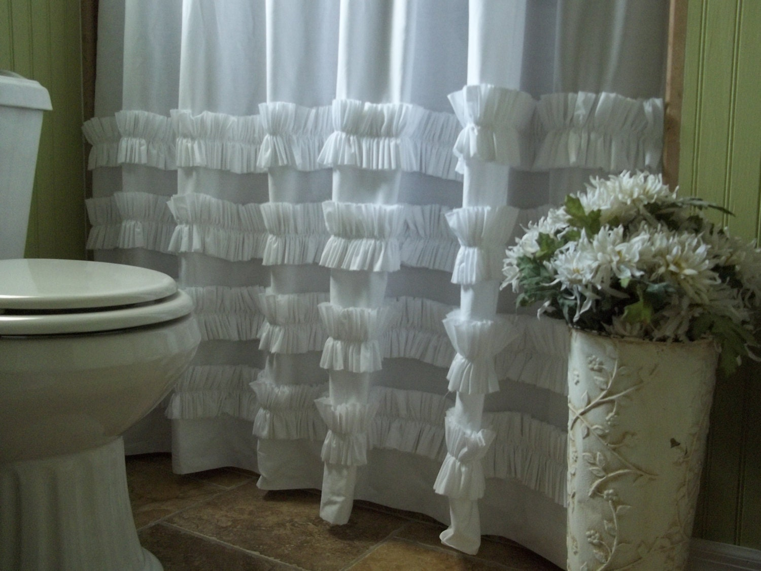 Shower Curtain Ruffle Shower Curtain White Cotton Ruffles