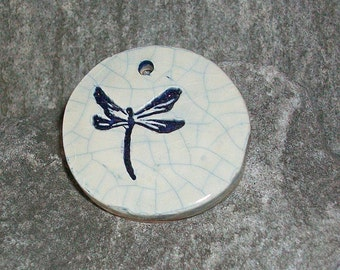 Ceramic Dragonfly Pendant Blue