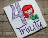 pretty princess Ariel inspired birthday shirt