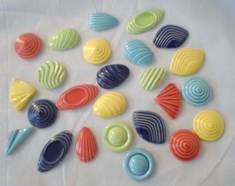 Mosaic tiles 25 Ceramic Colorful  Swirly shapes (tiles to mosaic)