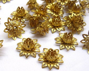 10pcs Golden Flower Raw Brass Filigree Findings Lotus Loose Religious Supplies f060
