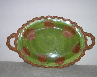 Funky, ceramic, green and brown serving dish