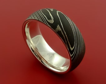 Damascus Steel Ring with Solid Sterling Silver Sleeve Wedding Band Custom Made