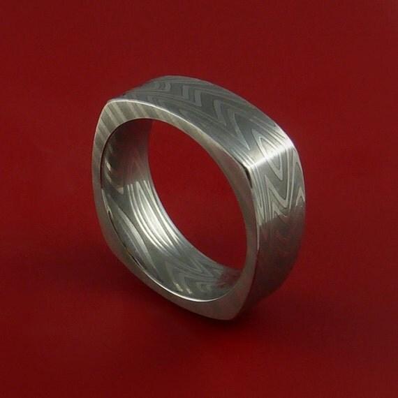 Damascus Steel Square Band Wood Grain Pattern Ring Genuine Craftsmanship