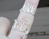 Adjustable SET Big and Little Rings Word Ring, Wire Word Ring Big and Lil Sorority Set Wire Word Rings Non Tarnish Silver Plated Wire