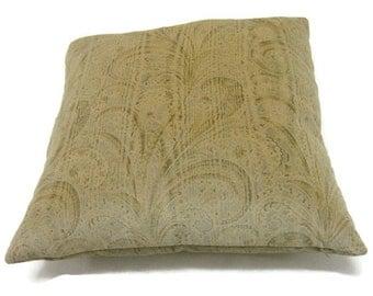 Holly Hunt Great Plains Printed Cotton Velvet Tan Paisley Pillow