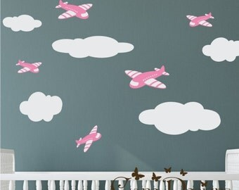Airplanes and Clouds set  Fabric wall decal,Removable, reusable and  repositionable fabric decal